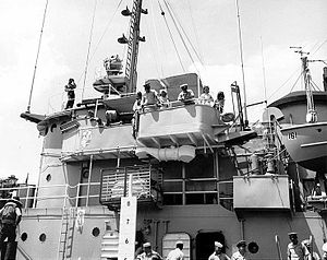 USS Salinan (ATF-161) - View of USS Salinan (ATF-161)'s port bridge while underway during a dependent's cruise, 18 May 1968.