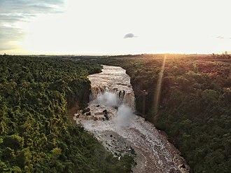 Saltos del Monday - Aerial Panoramic view of Saltos del Monday, Paraguay