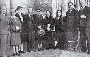 Melville Lyons - Samoan high chiefs Tupua Tamasese Meaʻole (fifth from left) and Malietoa Tanumafili II (second from right) welcomed to Christchurch in 1945 by Mayor Ernest Andrews (fourth from left) and Deputy-Mayor Melville Lyons (right)