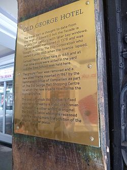 Photo of Samuel Pepys brass plaque