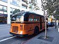 San Francisco White bus 042 during 2016 Heritage Weekend - rear view.jpg