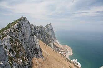 Great Gibraltar Sand Dune - View of the dune and eastern Mediterranean coast of Gibraltar from the Rock of Gibraltar.