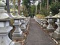 Sando and stone lanterns of Arashiyama Taki Shrine.JPG