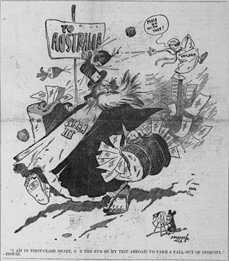 John Alexander Dowie - Editorial cartoon by Bob Satterfield, depicting Dowie leaving Chicago with his carpetbags full of money