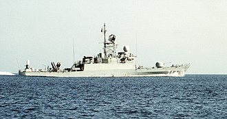Royal Saudi Navy - Image: Saudi Arabian missile corvette Tabuk (618) underway during Operation Desert Shield
