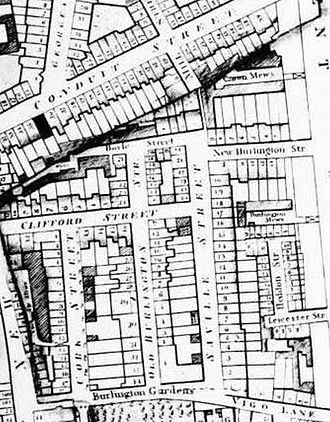 Savile Row - Savile Row (then called Saville Street) as shown on Richard Horwood's 1819 map of London