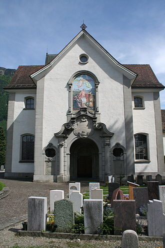 Friedrich Freiherr von Hotze - The village church at Schänis, where Hotze was originally buried.