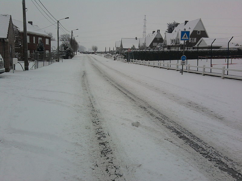 Scheldestraat, Otegem na sneeuwval in december 2009.