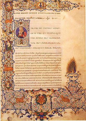 Epistulae Morales ad Lucilium - 15th-century illuminated manuscript, Laurentian Library