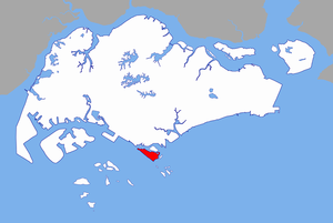 Location of Sentosa (in red), relative to Sing...