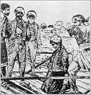 Slaughter of the Knezes - Serb knez beheaded.