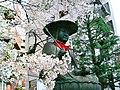Shinjuku Jizo- Taisou-ji bronze statue with sakura.jpg