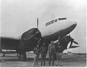 Showa/Nakajima L2D - CNAC pilots with a captured Shōwa L2D3 or L2D3-L, c. 1945