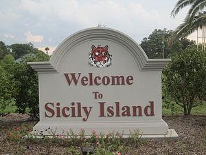Sicily Island, Louisiana - Image: Sicily Island, LA, welcome sign IMG 0285