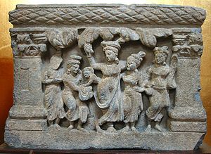 Buddhism and the Roman world - The birth of Siddhartha Gautama, Gandhara, 2nd–3rd century AD.