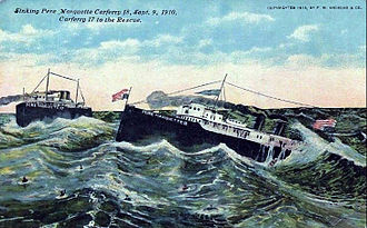 Pere Marquette Railway - Postcard illustration of sinking ferry 18, with ferry 17 coming to its aid.