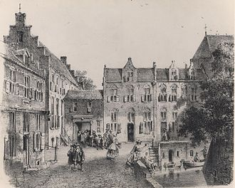 Macropedius - Saint Jerome's in Utrecht in the 17th century. Drawing by J. Liefland, Utrecht 1857.