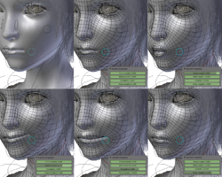 In this example from the open source project Sintel, four facial expressions have been defined as deformations of the face geometry. The mouth is then animated by morphing between these deformations. Dozens of similar controllers are used to animate the rest of the face.