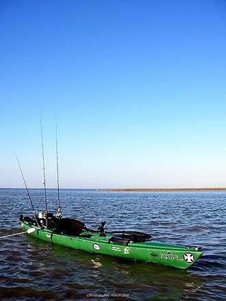Kayak fishing - Sit-on-top kayak rigged for fishing