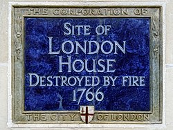 Site of london house destroyed by fire 1766   right side