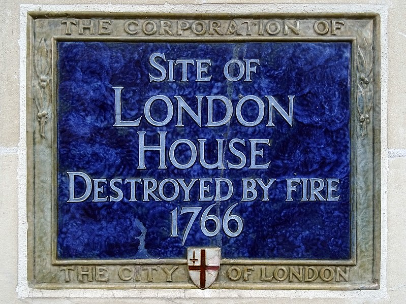 File:Site of London House Destroyed by fire 1766 - Right Side.jpg
