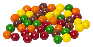 Sixlets candy. Terrible fake chocolate candy.