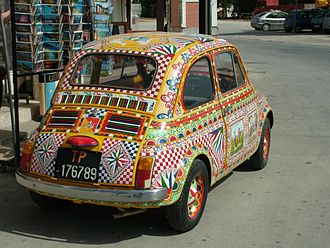 Sicilian cart - A Fiat 500 from Trapani, painted in the traditional style