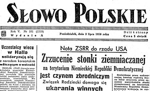 Socialist realism in Polish literature - Daily newspaper Słowo Polskie from July 3, 1950 with front page protest against American spy-planes dumping potato bug in Eastern Europe