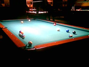 pocket billiards (pool) table. This image is m...