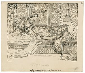 Cymbeline - Iachomo stealing Imogen's bracelet, Act II Scene ii. Illustration by Louis Rhead, designed for an edition of Lamb's Tales, copyrighted 1918.