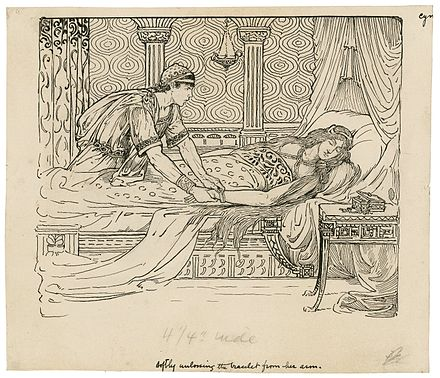 Iachomo stealing Imogen's bracelet, Act II Scene ii. Illustration by Louis Rhead, designed for an edition of Lamb's Tales, copyrighted 1918. Softly Unloosening the Bracelet.jpg