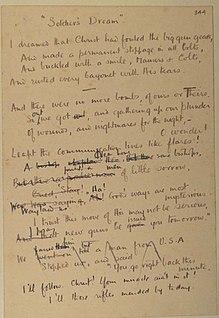 Soldiers Dream Poem written by Wilfred Owen