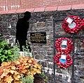 Soldier silhouette in Aberbargoed War Memorial (geograph 6258120).jpg