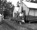 Soldiers posed next to tent with dog, Warren Spruce Company, ca 1918 (KINSEY 2685).jpeg