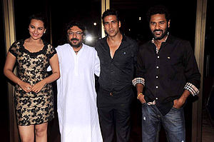 Rowdy Rathore - Sonakshi Sinha, Bansali, Akshay Kumar and Prabhu Dheva during the success bash