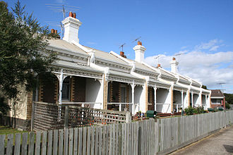 Terraced houses in Australia - A late 19th century terrace of six houses in South Geelong, similar in style to those found in inner Melbourne.