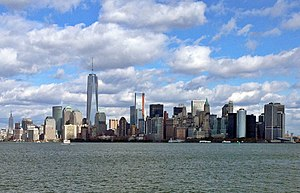 The Financial District Of Lower Manhattan Viewed From New York Harbor Near Statue