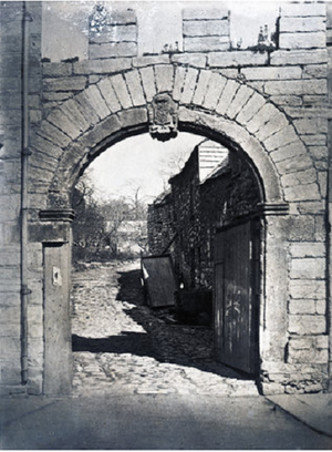 """John Sparke (died 1680) - Friary Gate (alias Sparke's Gate), Exeter Street, Plymouth. Photograph c.1890 showing """"Sparke's Gate"""", an early 18th century rebuild of the dilapidated 13th century entrance to the Whitefriars Abbey, which had been acquired as their residence by the Sparke family after the Dissolution of the Monasteries"""