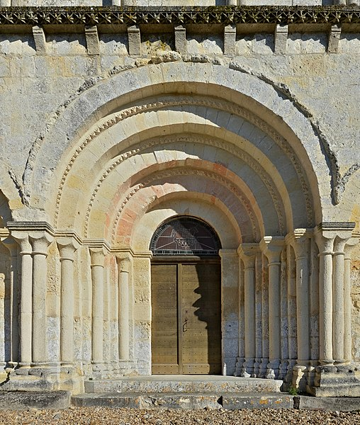 Portal and tympanum of the church of Saint Quentin, Saint-Quentin-de-Chalais, Charente, France