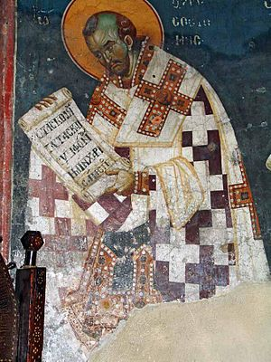 Fresco of St. John Chrysostom, lower register ...