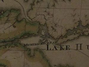 St. Joseph Island (Ontario) - This detail of Abel Buell's famous 1783 map shows the international border appearing to divide St. Joseph Island between the United States and British North America.