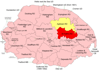 St Faith's and Aylsham Rural District - Position within Norfolk, 1894