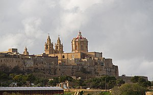 St. Paul's Cathedral, Mdina - The cathedral's dome and belfries dominate the skyline of Mdina