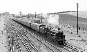 Standish, Gloucestershire - Bournemouth West to Derby express at Standish Junction in 1951