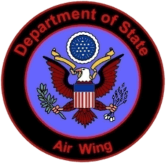 "United States Department of State - Logo of the ""Air Wing"" of The Bureau of International Narcotics and Law Enforcement Affairs (INL)- Office of Aviation, U.S. Department of State"