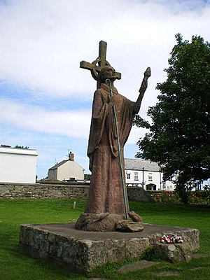 Statue of St Aidan, Lindisfarne Priory - geograph.org.uk - 912490.jpg