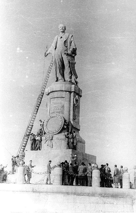Statue of Ferdinand de Lesseps (a Frenchman who built the Suez Canal) was removed following the nationalisation of the Suez Canal in 1956. Statue of de Lesseps.jpg