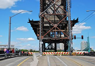 Steel Bridge - View from roadway during a lift-span opening