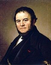 Portrait peint d'un homme brun à collier de barbe portant une veste noire