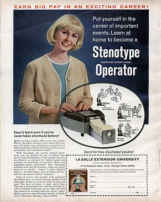 Court reporter - Historical 1965 ad of Stenotype Career